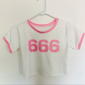 Dolls Kill Tops - Pink & White 666 Cropped Ringer T-shirt Swim Top